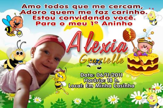 Convite Abelhinha personalizado com foto