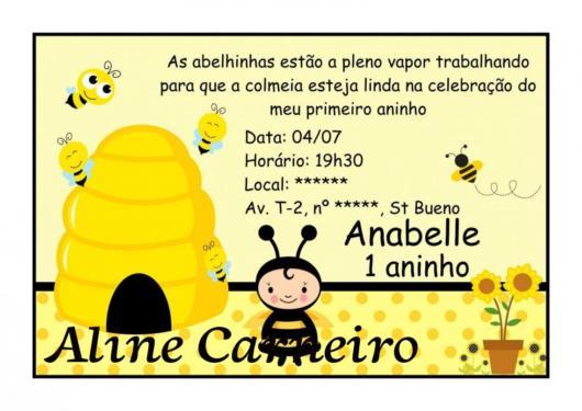 Convite Abelhinha em formato de imagem digital