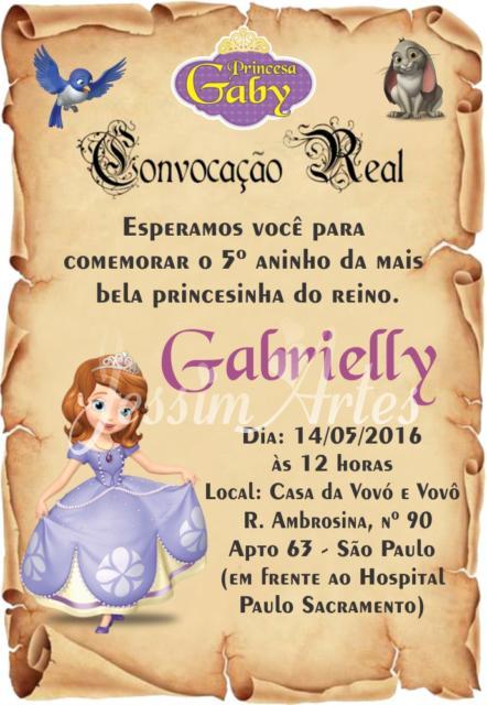 Convite Pergaminho: Princesa Sofia