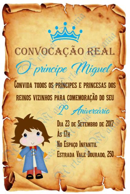 Convite Pergaminho: Pequeno Príncipe