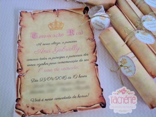 Convite Pergaminho: Princesa
