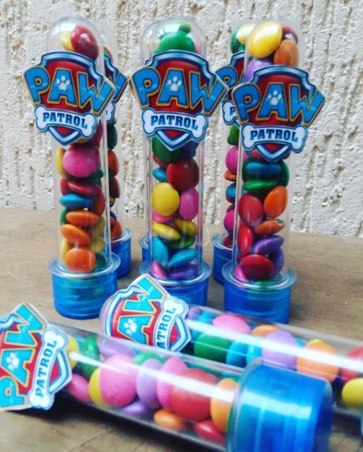 Doces Patrulha Canina: tubete com confetes