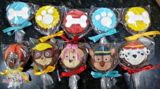 Doces Patrulha Canina: pirulito de chocolate