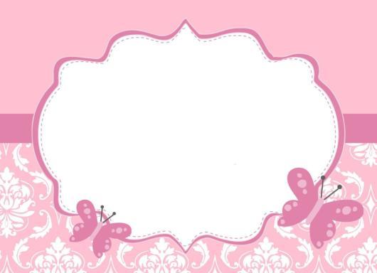 Convite rosa de borboletas para imprimir