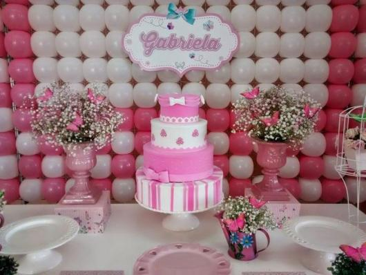 Decoração rosa para festinha Borboletas