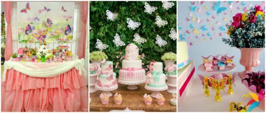 A festa com tema de borboletas pode combinar com aniversários e chás de bebê