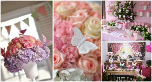 Aposte nas flores para complementar o visual da festa borboletas