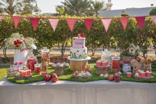 Festa no parque: decoração para chá de bebê com bandeirinhas rosas