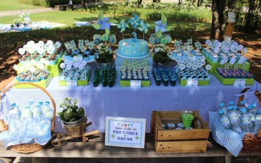 Festa no parque: decoração para chá de bebê com catavento azul