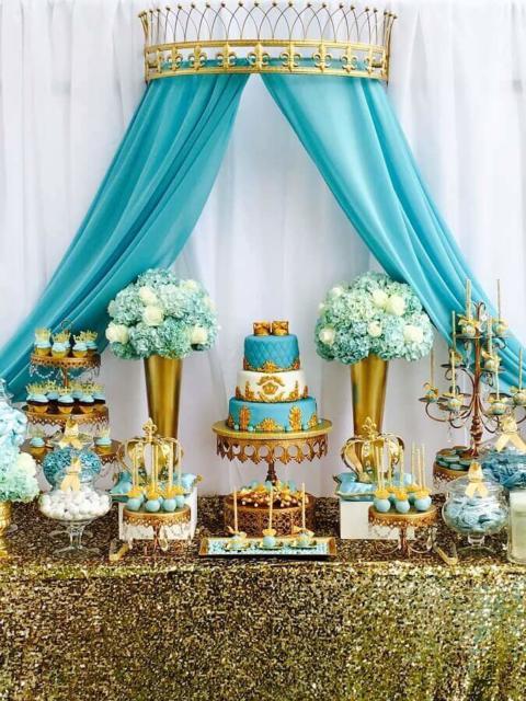 Mesa de 15 anos: Azul Tiffany e dourada