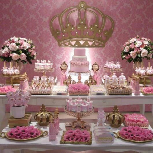 Mesa de 15 anos: Rosa para Tema Princesa