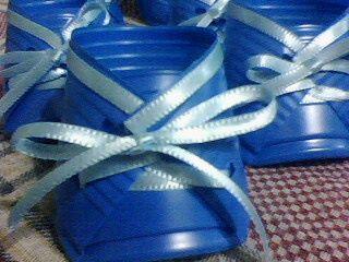 Sapatinho de copo descartável: Azul