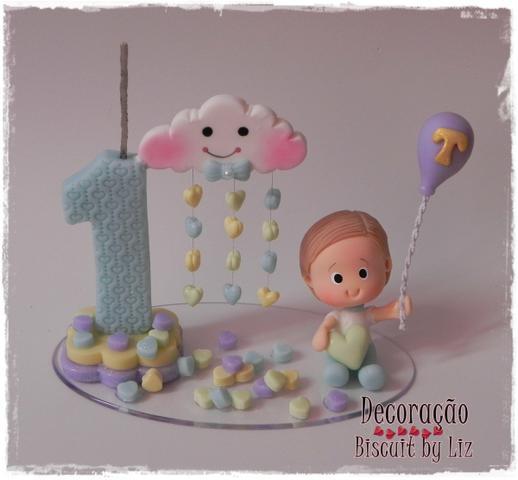 Topo de bolo chuva de amor: Em biscuit