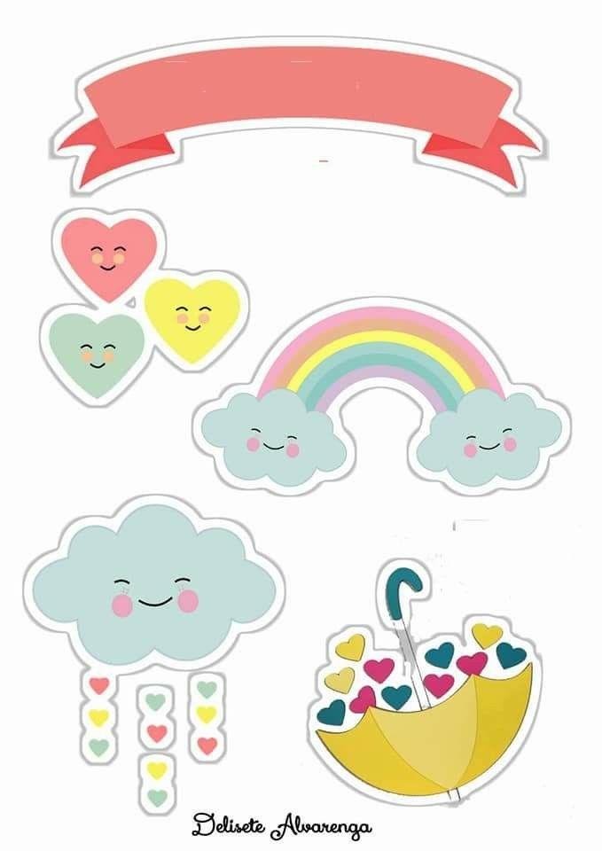 Topo de bolo chuva de amor: Para imprimir