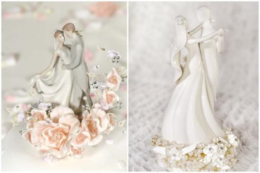 Os noivinhos de porcelana são bem tradicionais