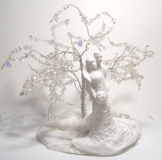 Composição de noivos, bem como árvore para topo de bolo