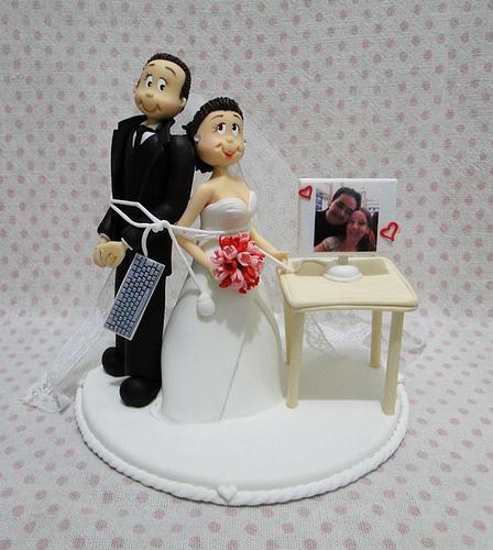 Topo de bolo para casamento inusitado