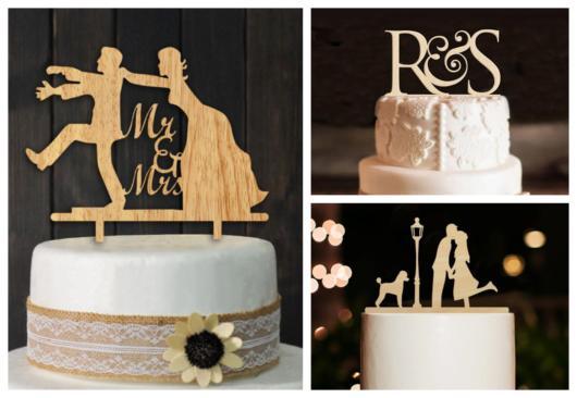 topo de bolo de casamento de MDF