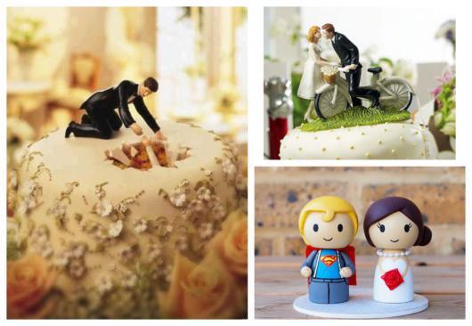 São opções para todos os tipos de noivos topo de bolo