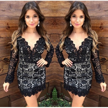 Vestido de renda para festa: Curto preto e branco
