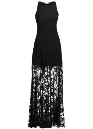 Vestido de renda para festa: Longo preto