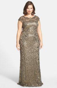 Vestido de renda para festa: Longo dourado