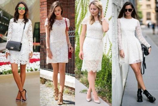 Vestido de renda para festa: Curto com a cor branca