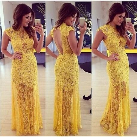 Vestido de renda para festa: De casamento amarelo
