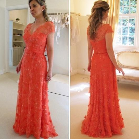 Vestido de renda para festa: De casamento salmão