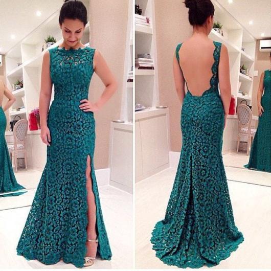Vestido de renda para festa: De casamento verde escuro