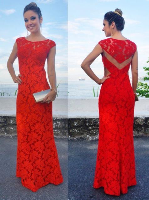 Vestido de renda para festa: De casamento vermelho