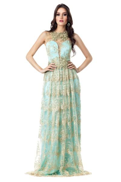 Vestido de renda para festa: De casamento azul claro