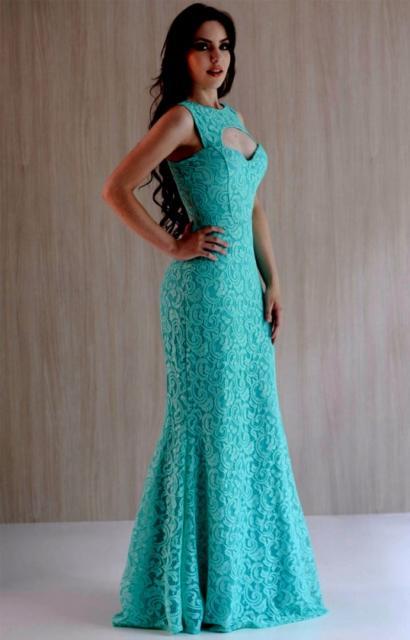 Vestido de renda para festa: De casamento azul tiffany