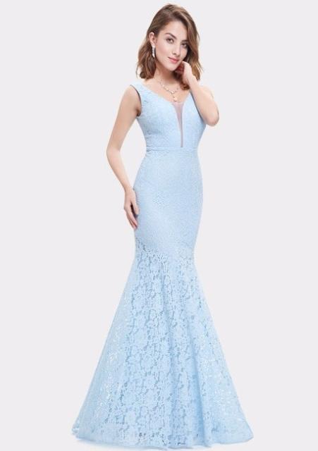 Vestido de renda para festa: De casamento azul
