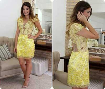 Vestido de renda para festa: Curto amarelo