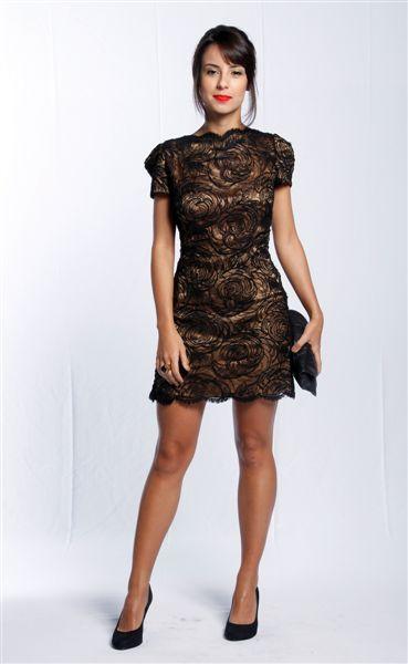 Vestido de renda para festa: Curto preto