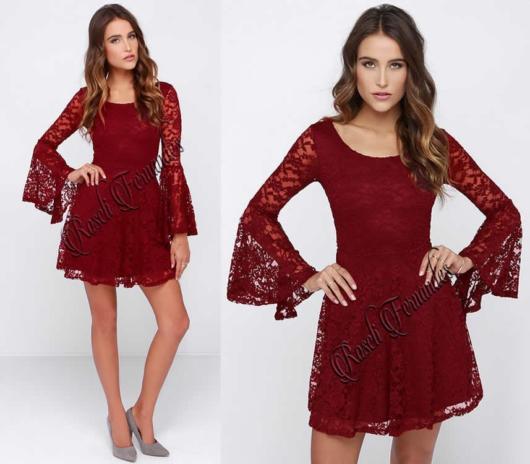 Vestido de renda para festa: Curto vermelho