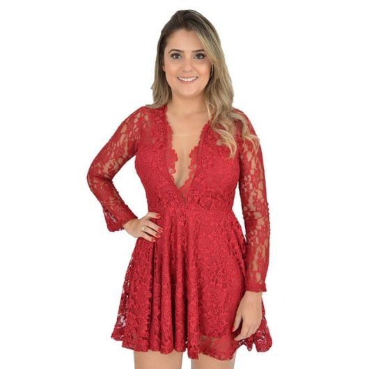 Vestido de renda para festa: Curto vermelho com decote