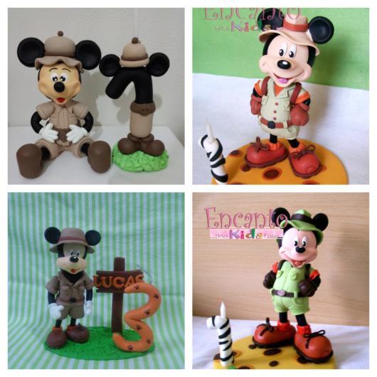 O topo de bolo do Mickey para uma festa infantil inspirada no safari