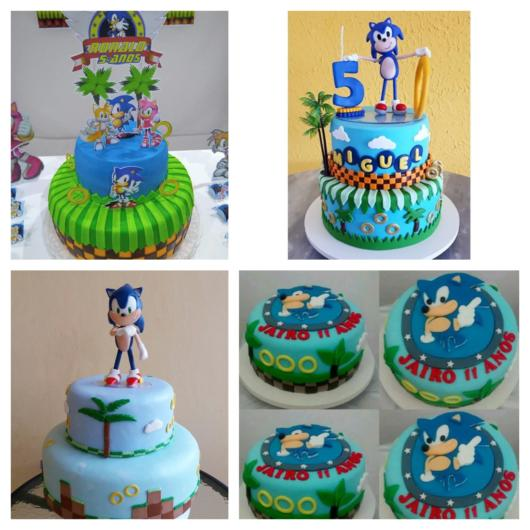 Você pode decorar seu bolo do Sonic de diversas formas, como essas opções, por exemplo