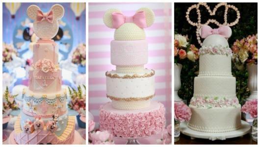 Montagem com três bolos grandes da Minnie.