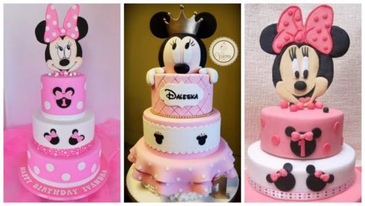 Montagem com três modelos de bolo fake da Minnie.