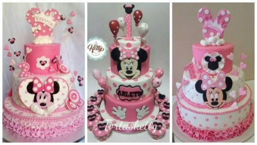Montagem com bolos rosa da Minnie.