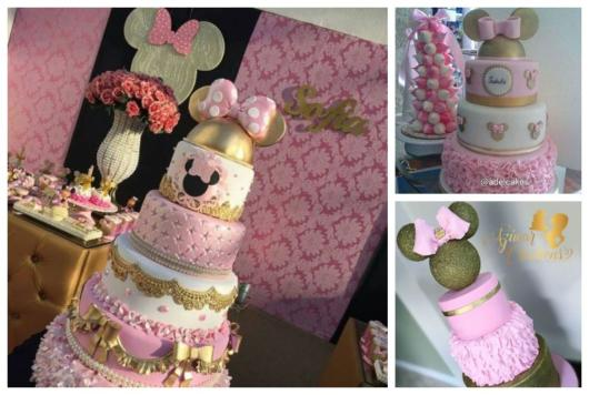 Bolos da Minnie com as cores rosa, branco e dourado.