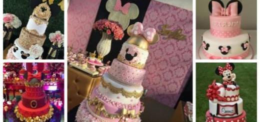 Montagem com cinco fotos de bolos decorados.