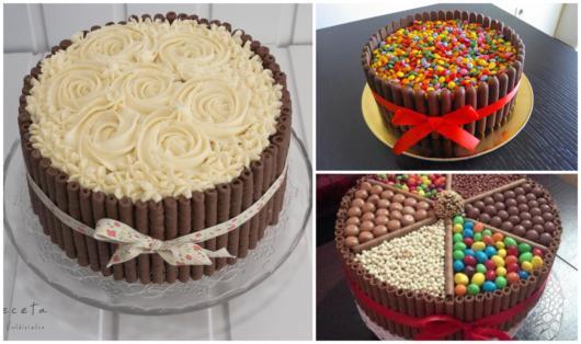 Os palitos de chocolate decoram os bolos de festa
