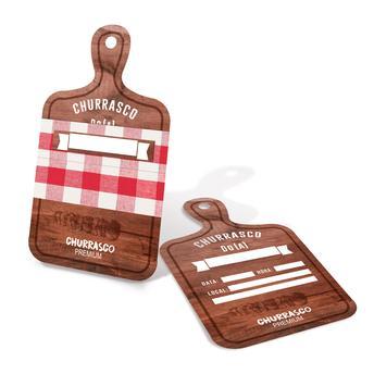 A famosa tábua de churrasco no design do convite