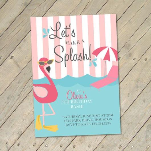 Convite divertido de flamingo