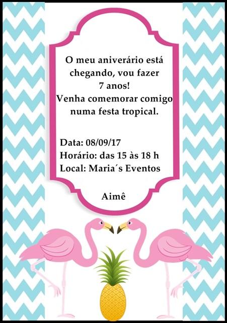 Convite decorado com flamingos e estampa étnica