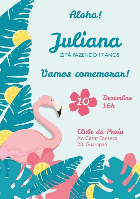 convite flamingo azul